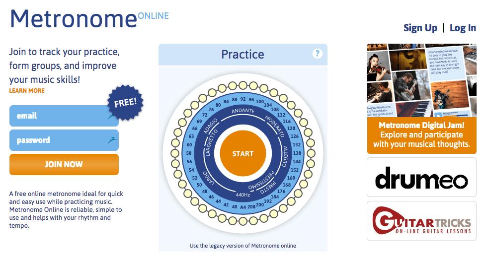 無料オンラインメトロノーム METRONOME ONLINE