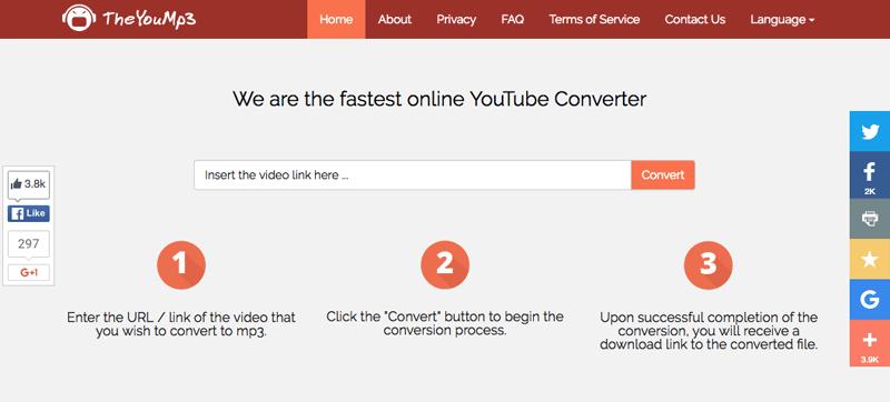 オンラインでYouTube動画をMP3に無料変換 TheYouMp3