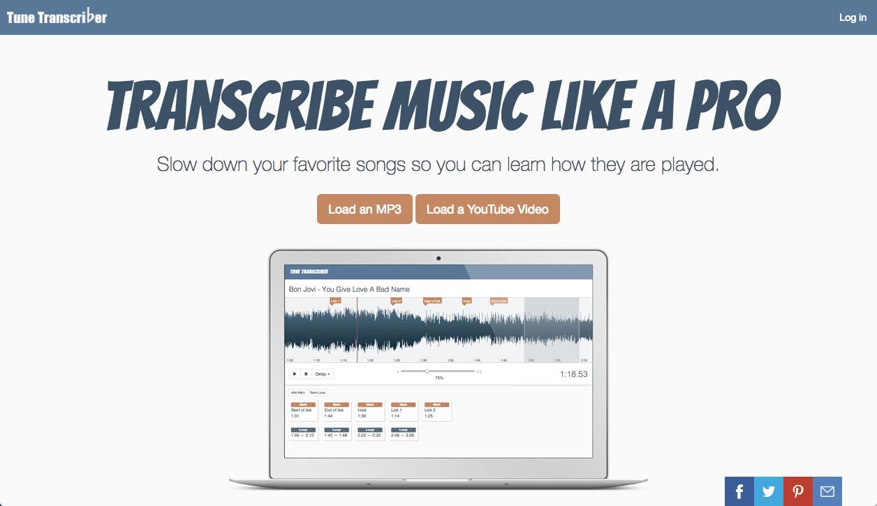 耳コピ用MP3/YouTube動画プレーヤー Tune Transcriber