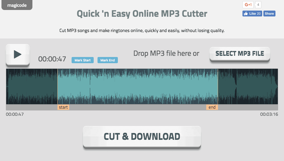 Quick'n Easy Online MP3 Cutter