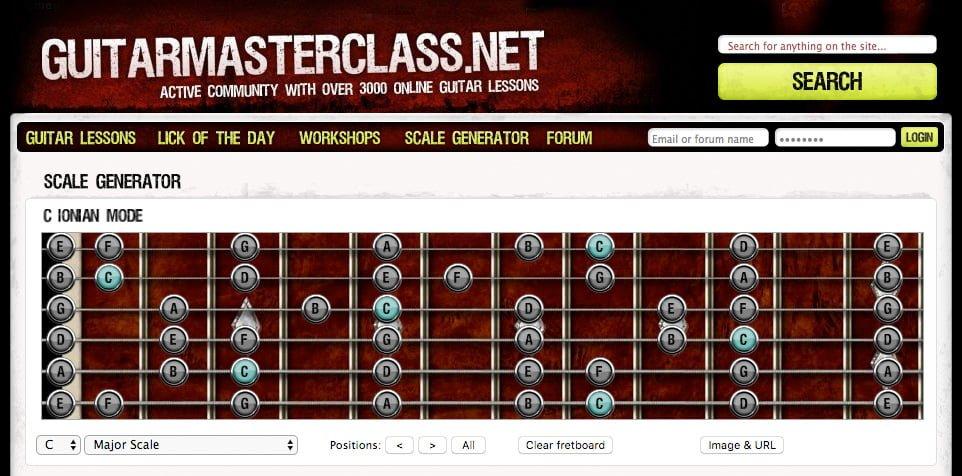 94種のギタースケールを画像で保存 Scale Generator